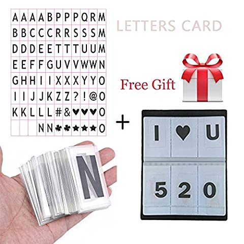 Aoxun Lettres avec Cartes Set Cinématique Boite à lumière Lettres LED Acryliques Numéros et Symboles pour Lightbox A4 Taille 35*65mm(85 Noires)