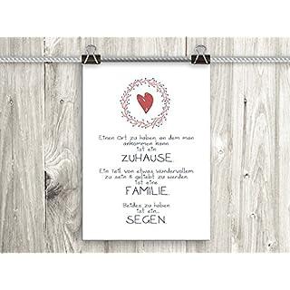artissimo, Poster mit Spruch, Din A4, PE0036-DR, Zuhause/Familien/Segen, Bild mit Spruch, Spruchbild, Wandbild, Plakat, Kunstdruck, Zitat, Sprüche, Wanddekoration