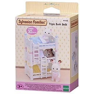 Sylvanian- Triple Bunk Beds Families Lits Superposés à 3 Couchettes Bébés-Poupées et Accessoires, 4448, Multicolore
