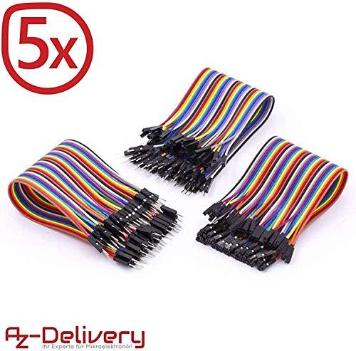 AZDelivery 5 x Jumper Wire Kabel 3 x 40 STK. je 20 cm M2M/ F2M / F2F für Arduino und Raspberry Pi Breadboard -