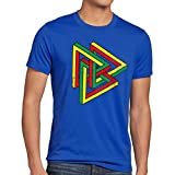 style3 Color Escher T-Shirt Homme The Big Bang Theory Sheldon tbbt, Taille:M;Couleur:Bleu
