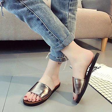 zhENfu donna pantofole & amp; flip-flops sandali Comfort PU esterna di estate passeggiate tacco piatto bianco nero Champagne sotto 1in Champagne