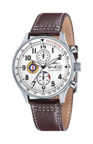 avi-8-av-4011-01-reloj-cronografo-de-cuarzo-para-hombre-con-esfera-blanca-y-correa-de-cuero-marron
