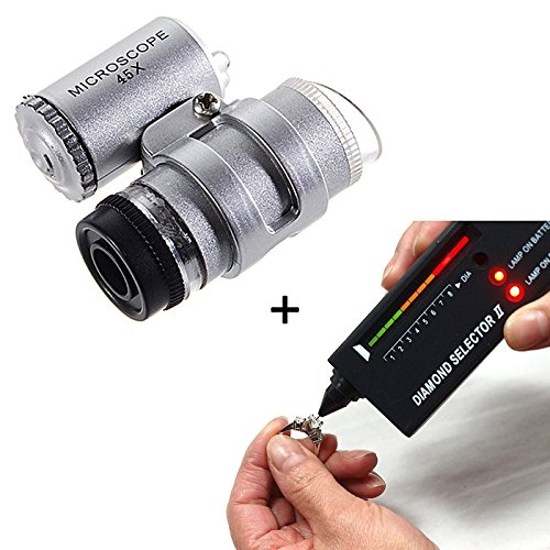 StillCool V2 Diamant Test Diamantprüfer Diamant Prüfgerät Schmuck Selector II + 45X Beleuchtete LED Lupe(test + Loupe) (Test-licht-schalter)