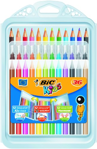 BIC Kids Set para Colorear – 8 rotuladores/8 Lápices para Colorear/12 Ceras, colores Surtidos, Estuche de 36 unidades