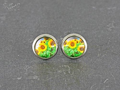 Ohrstecker Edelstahl * Cabochon Sonnenblume 8 mm (Produkte Sonnenblume)