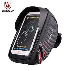 Sac de Guidon/Étui/Housse Imperméable avec Emplacement pour Téléphone Smartphone Écran Tactile sous 6,0 pouces ( Avec la Visière ) pour VTT Vélo de Route Vélo de Ville Vélo Pliant etc