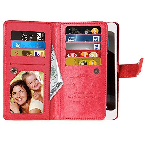 Flip Sony Xperia X Fall Folio Case Solid Farbe Premium Synthetik-Leder-Kasten-Standplatz-Mappen-Kasten-Kasten mit 9 Karten-Bargeld-Slots für Sony Xperia X ( Color : Pink , Size : Sony Xperia X ) Red