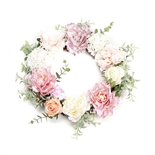 LTWHOME Artikelnummer WHPPY 14 Zoll Künstlicher Handgemachter Frühlings Sommer Kranz mit Pfingstrosen, Rosen, Hortensien für Haus, Tür, Wand, Kaminsims, Fenster Dekoration
