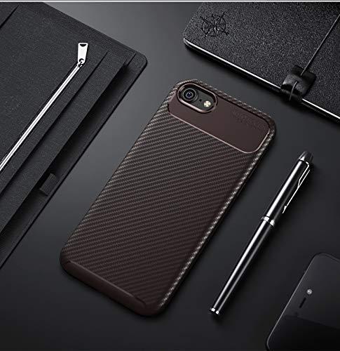 HHF Cases & Covers Für iPhone 7 / iPhone 8, 3D Texture Schlankes Leichtgewicht Gut konzipierte Kohlefaser-weiche TPU-Rückseite Shell-Hülle (Farbe : Braun) Rei Soft Shell