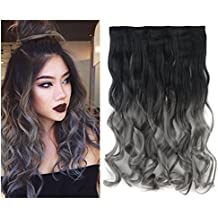 """24""""(60cm) 110G Natural negro a Ombre color gris oscuro con 2extensiones de pelo rizado clip en una sola pieza 5clips para una cabeza completa"""