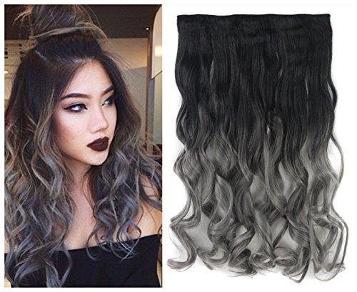 Extension di capelli ondulati per testa completa, con 5 fermagli per ogni ciocca, lunghezza 60 cm, peso 110 g, in tono bicolore con effetto ombreggiato, colore: da nero naturale a grigio scuro