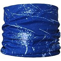 Braga para el cuello, pañuelo de microfibra multifunción, diseño de salpicaduras de azul