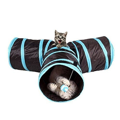 Katzentunnel, WonderforU Katzenspielzeug Spieltunnel Faltbare mit Wackelig Ball für Katze, Puppy, Kitten und Kaninchen