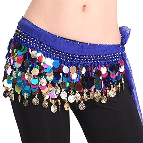 Pañuelo para la cintura Best Dance, de danza del vientre, varios colores, con cuentas, Mujer, color azul oscuro, tamaño Talla única
