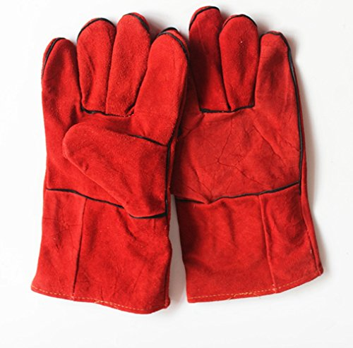 prochive Handschuhe Hohe Temperatur Kaminofen lang gefüttert Schweißer Handschuhe groß rot Fire und Grillhandschuhe