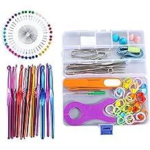 Lzndeal Ganchillos de Aluminio y Accesorios necesarios para Costura y Croché,Juego de ganchillo con Caja ideal para los amantes de Croché y Costura