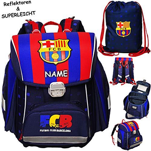 alles-meine.de GmbH Set: Schulranzen & Turnbeutel -  Fussball - FC Barcelona - FCB  - inkl. Name - SUPERLEICHT & ergonomisch + anatomisch - Brustgurt - Ranzen Tornister / Schul.. -