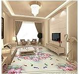 PVC Tapete 3D Wandbild Ursprüngliche Chinesische Farbe Geschnitzte Bodenfliesen Des Lotoskalmar 3D Bodenmalerei 350x245cm