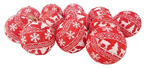 Set von 12 Luxus Weihnachtskugeln - Rot Stoff bedeckt Kugeln mit weißen Weihnachtsmuster