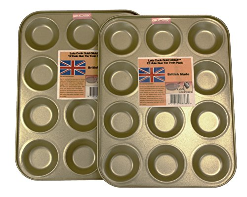 12 Hole Mince Pie/Bun Tins, Twin Pack, British Made with Gold GlideX Non Stick by Lets Cook Cookware