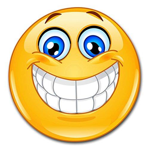 easydruck24de 1 Smiley-Aufkleber Smile XL I kfz_020 I rund Ø 30 cm I Emoticon Sticker lachend für Auto Wohnwagen Wohnmobil Wand-Tattoo I wetterfest