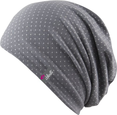 Chillouts Florence Hat / Mütze, FLO02 grey / white gepunktet