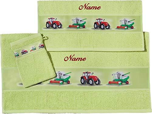 Erwin Müller Kinder Handtuch-Set, Frottier-Set mit Namen, Traktor grün Größe 70x110 cm + 50x70 cm + 15x21 cm - 1 Handtuch, 1 Badetuch, 1 Waschhandschuh - kuschelig weich, saugstark