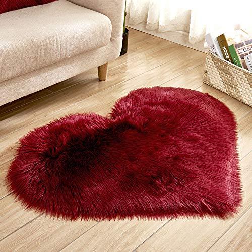 Wollimitation Schaffell Teppich Kunstpelz nicht schiebende Schlafzimmer Pelzmatte Liebe einfarbig Warm gepolstertes Kissen teppichboden teppich kaufen günstig wohnzimmer40*50CM