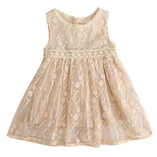 YWLINK MäDchen Mesh Retro Elegant ÄRmellos Kleiden Süß Knielang Spitze Patchwork Party Urlaub Prinzessin Kleid(Beige,120)