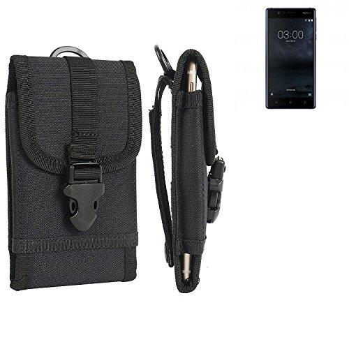 K-S-Trade Handyhülle für Nokia 3 Dual-SIM Gürteltasche Handytasche Gürtel Tasche Schutzhülle Robuste Handy Schutz Hülle Tasche Outdoor schwarz