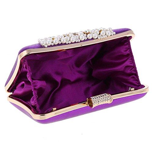 Damara® Damen Glitzer Handtasche Hartschale Clutches Mit Fashion Perle Gold