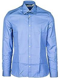 Burberry Camicia Uomo Maniche Lunghe Nuova Melbury Blu 61438d3e09f0