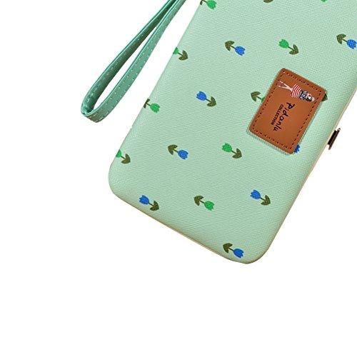Universal Portefeuille Femme Purse Party Bag, Vandot [Grande Capacité] Pochette avec Zippé Housse pour iPhone X / iPhone 10, iPhone 8, iPhone 8 Plus Party Bag PU Cuir Wallet Sac de Fête avec Carte de  Fille-Vert Menthe