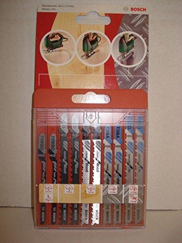 Bosch 10 tlg Stichsägeblatt Set T-Schaft Holz Metall Stichsägeblätter 2609258746