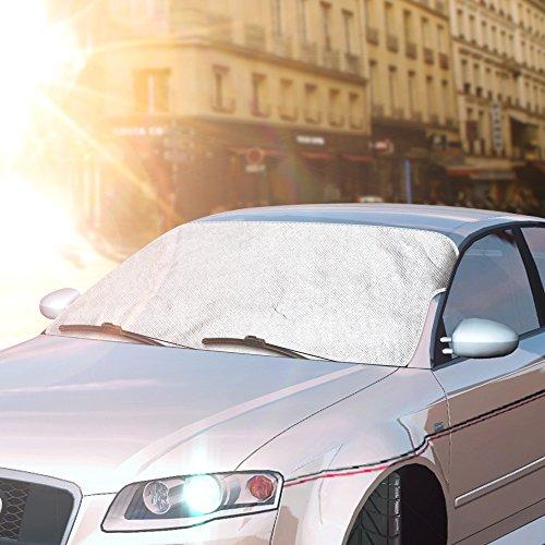 Topist Scheibenabdeckung, Sommer Auto Sonnenschutz Frontscheibe Abdeckung, Windschutzscheiben Abdeckung Autoabdeckung Sonnenblende + Winter Frostabdeckung für Standard Auto - 59*46.5inch