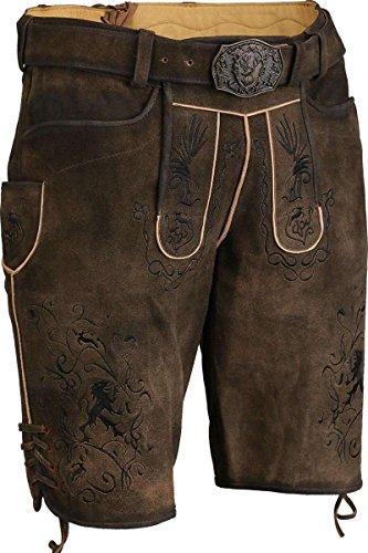 Herren Spieth & Wensky Kurze Lederhose mit Gürtel und schwarzer Stickerei, braun-schwarz, 56
