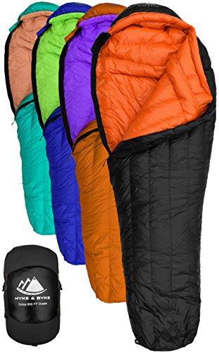 Hyke & Byke 800 Fill Power Gans Daunenschlafsack - Eolus -15 & -10 Grad F Ultraleicht Mumie Taschen für Backpacking (-10 Degree C (Black/Clementine) …, Regular)