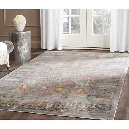 Safavieh VAL108C Modische Teppich, VAL108, Gewebter Viskose Läufer, Grau/Mehrfarbig, 121 X 182 cm