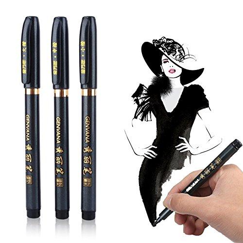 ^ Genvana – Lotto di 3 penne a punta morbida per calligrafia (kana / kanji), disegno, manga recensioni dei consumatori