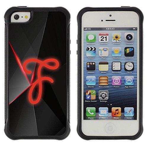 FJCases Buchstabe F Alphabet Stoßfest Anti-Rutsch Weiches Gummi Hülle Case Schutzhülle Taschen für Apple iPhone SE / 5 / 5S