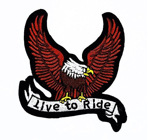 rabana braun Bald Eagle Hawk Bird Flying Wildtiere Choppers Patch Live to Ride Kinder Cute Patch für Heimwerker-Applikation Eisen auf Patch T Shirt Patch Sew Iron on gesticktes Badge Schild (Kostüm Big Kinder Bird)