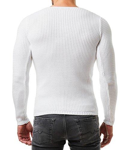 EightyFive Herren Pullover Feinstrick Slim Fit Schwarz Weiß Grau Beige EF1472 Weiß