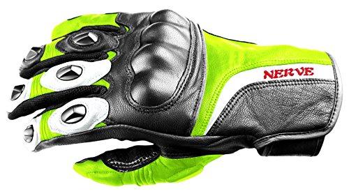 NERVE 31140326_01 Guanti Protettivo Kq11 per Moto Scooter Pelle, Nero/Verde Neon, XS/7