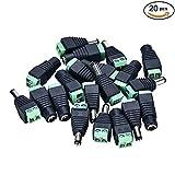 Pasow, connettori di alimentazione DC, adattatori per sistema di videosorveglianza a circuito chiuso. 10 pz jack femmina e 10 pz jack maschio