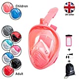 STAY Active Kid's Full Face Snorkeling Mask Kids - Breathe Through Your Nose And Mouth - Snorkel Mask Set For Children - Comes With Drawstring Bag And Waterproof Phone Case (XS - Pink)