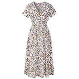 VEMOW Sommer Elegant Damen V-Ausschnitt Urlaub Blumendruck Kleid Casual Täglichen Urlaub Business Arbeit Beach Party Dress(Weiß, EU-38/CN-M)