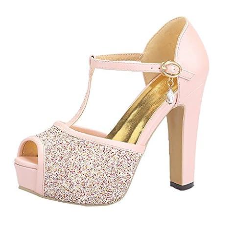 Damen Peep Toe Blockabsatz High Heels Plateau T-Strap Sandalen Glitzer Pumps mit Knöchelriemchen und Schnalle
