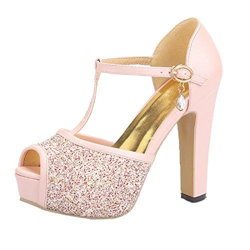 Damen Peep Toe Blockabsatz High Heels Plateau T-Strap Sandalen Glitzer Pumps mit Knöchelriemchen und Schnalle Schuhe Rosa Peep Toe