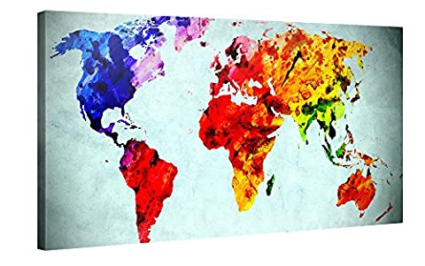 Large Canvas Print Wall Art – World Map in Watercolour Style - 100x50cm Canvas Picture Stretched On A Wooden Frame – Giclee Canvas Printing – Hanging Wall Deco Picture